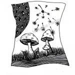 Pilze mit Pusteblume