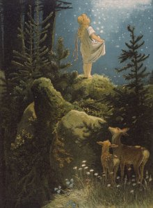 """Illustration zu """"Die Sterntaler"""" von Viktor Paul Mohn, 1882"""